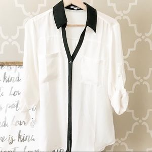 Express black white blouse